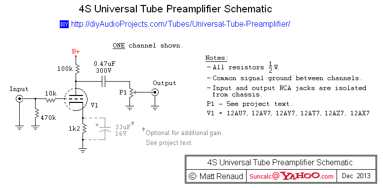 4S Universal Tube Preamplifier Schematic | Circuits and such | Tube