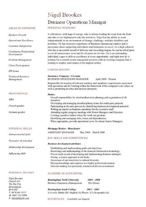 Business Operations Manager Resume examples, CV, templates - manager resume example