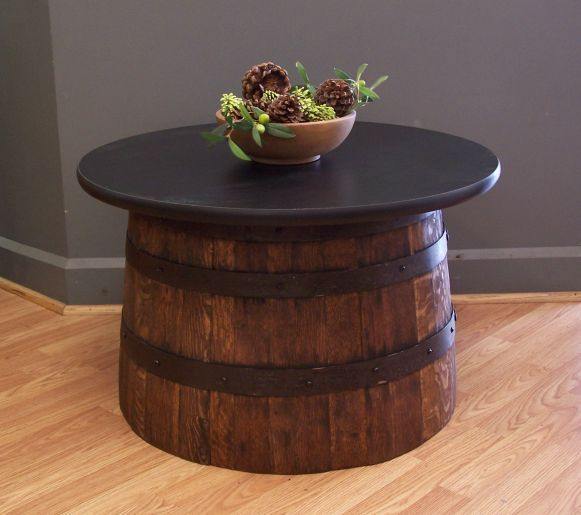 Authentic Real Half Whiskey Barrel Coffee Table End Table Aunt