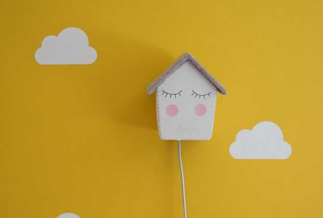 House of clouds happy house childrens wall light bobbyrabbit how adorable are these happy house wall lights for children by british brand house of clouds mozeypictures Gallery