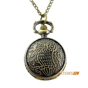 Vintage Bronze Owl Pattern Cover Quartz Pocket Watch Antique Chain Necklace by new brand. $4.99. ItemnoNBW0PA7100 GenderUnisex MovementQuartz Movement Case Size27*36mm Case Thickness12mm BezelBronze alloy bezel  DialWhite dial with Arabic numerals hour marking Case BackBronze alloy case back with flower pattern Weight23g Water resistantDaily water resistant, please don't put it in water Length44(Chain length: elongation 78cm, fold 39cm) cm