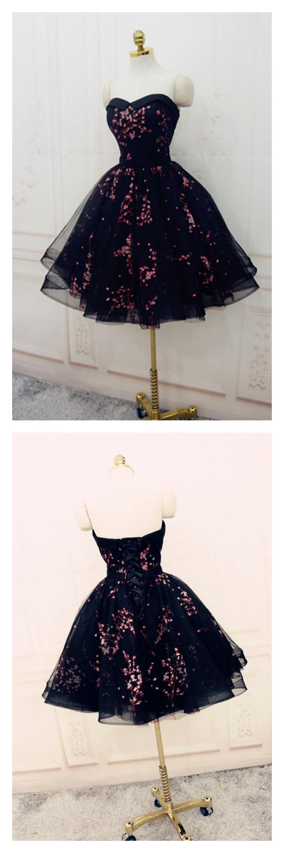 Black sweetheart knee length party dresseshs from simi bridal
