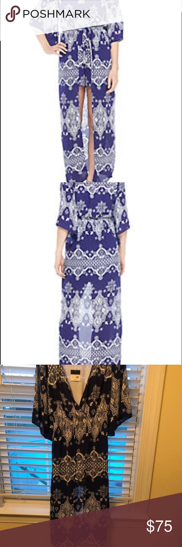 Nwt Kaari Blue Tie Waist High Low Maxi Romper 57 5 L Elastic Waistband V Neck Short Flare Sleeves Machine Washable Or Dry C Fashion Maxi Romper High Low Dress [ 1740 x 580 Pixel ]