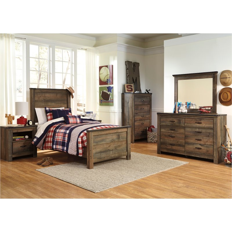 Contemporary Rustic Oak 4 Piece Twin Bedroom Set Trinell Rc Willey Furniture Store In 2020 Twin Bedroom Sets Bedroom Sets Bedroom Panel
