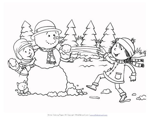 winter snow ball fight coloring page Comic Coloring