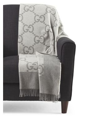 Made In Italy Cashmere Blend Signature Logo Throw