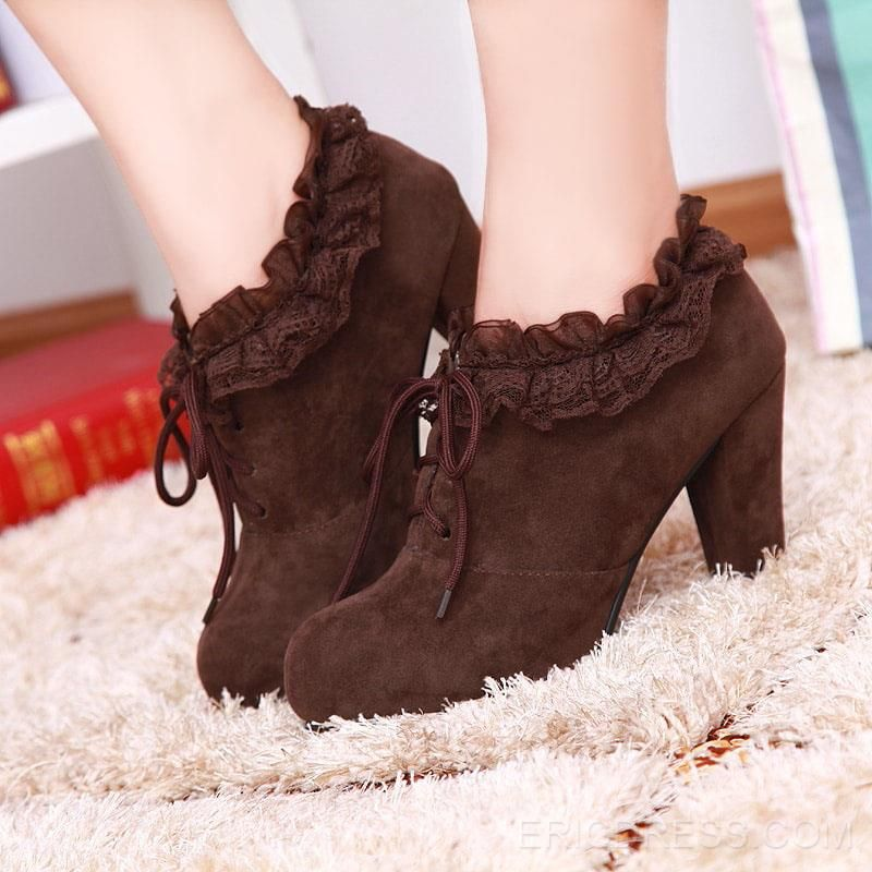 Ericdress Graceful Lace High Heel Boots 1