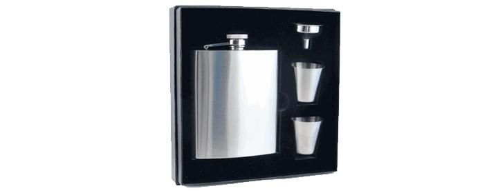Gifts for Him: Stainless steel flask set, incl. flask, shot glasses & funnel