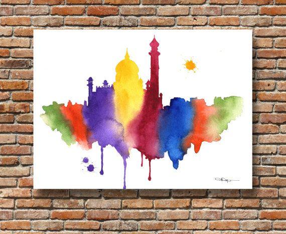 India Skyline Abstract Watercolor Painting Taj Mahal
