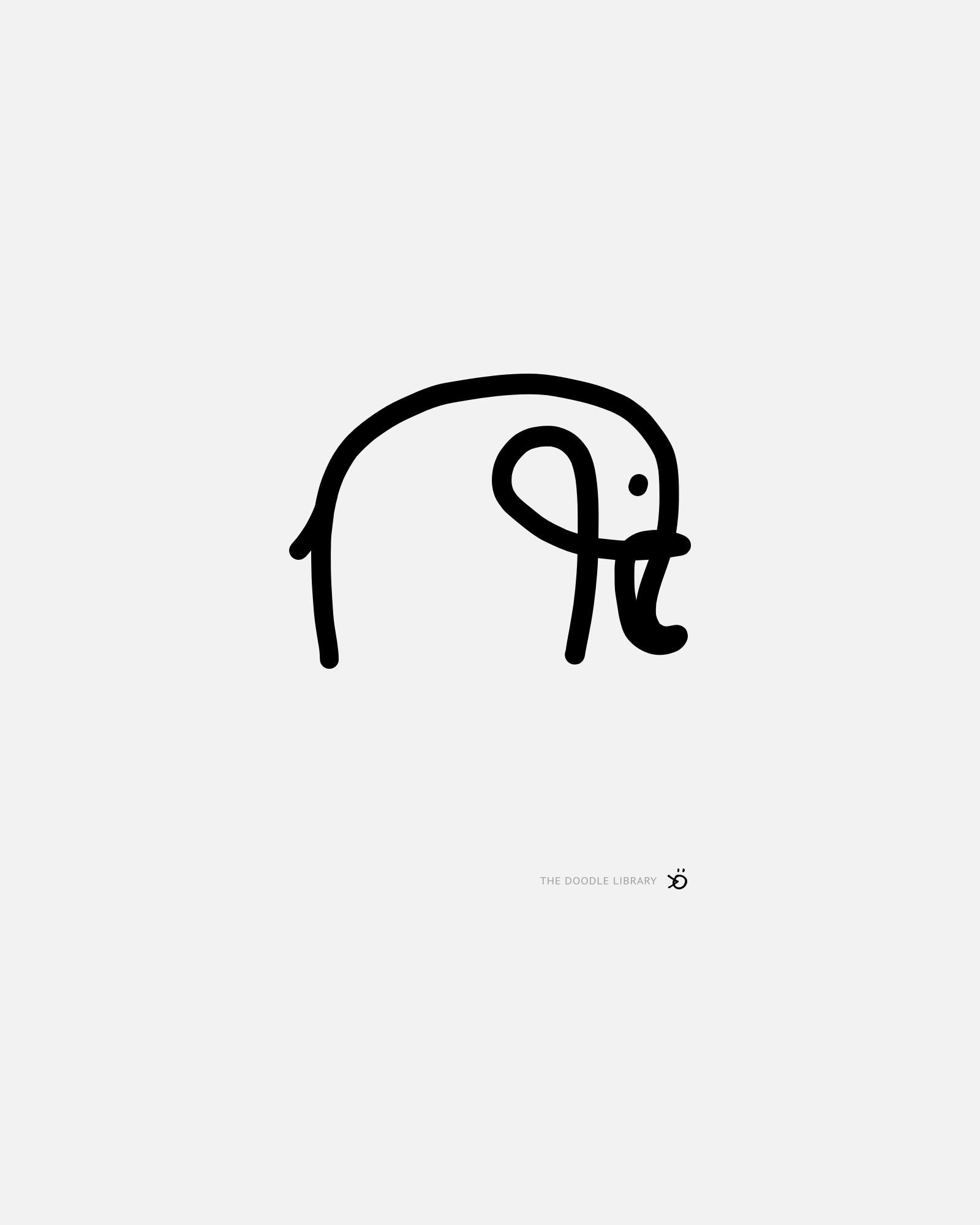 Minimalist Elephant Drawing: Elephant Simple Drawing Doodle