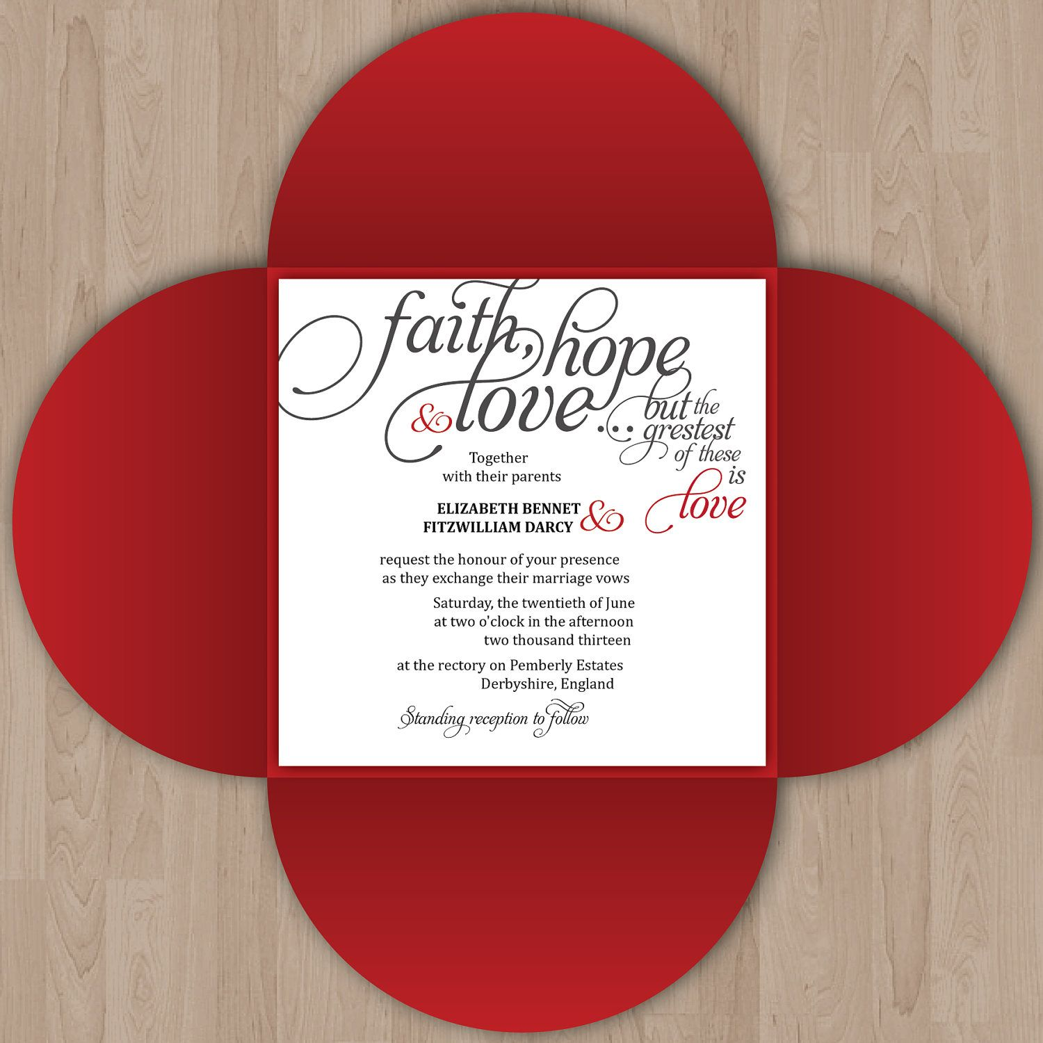 Beautiful Calligraphy Wedding Invitation with Bible Verse and Petal ...