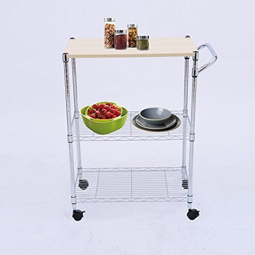 Tenive Metal Utility Stand Rolling Kitchen Trolley Cart Storage Dining