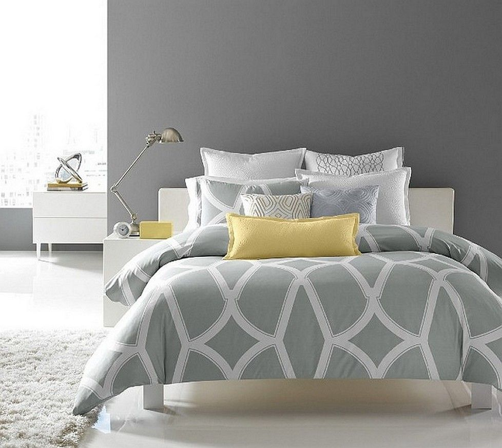 Cool And Elegant Grey And Yellow Bedroom For Sweet Home With