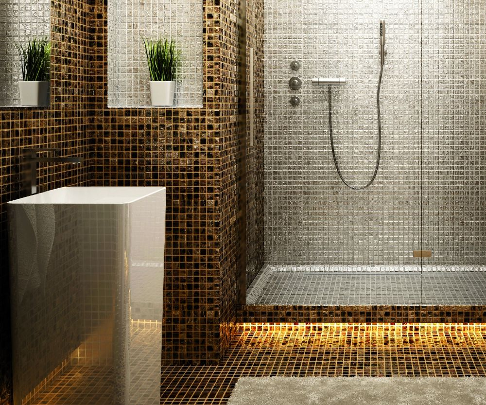 Piastrelle a mosaico docce piastrelle e filo - Piastrelle bagno mosaico doccia ...