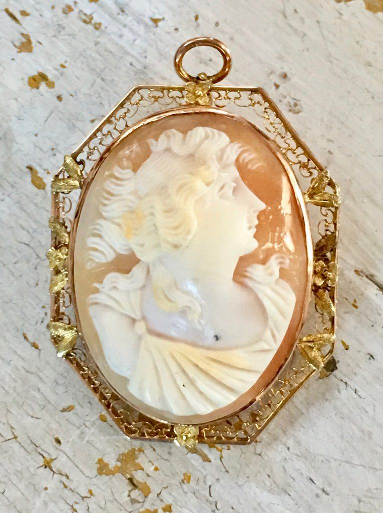 820802f2e Antique Shell Cameo Pendant Brooch 10K Gold Filigree - Yourgreatfinds,  Vintage Jewelry - 1