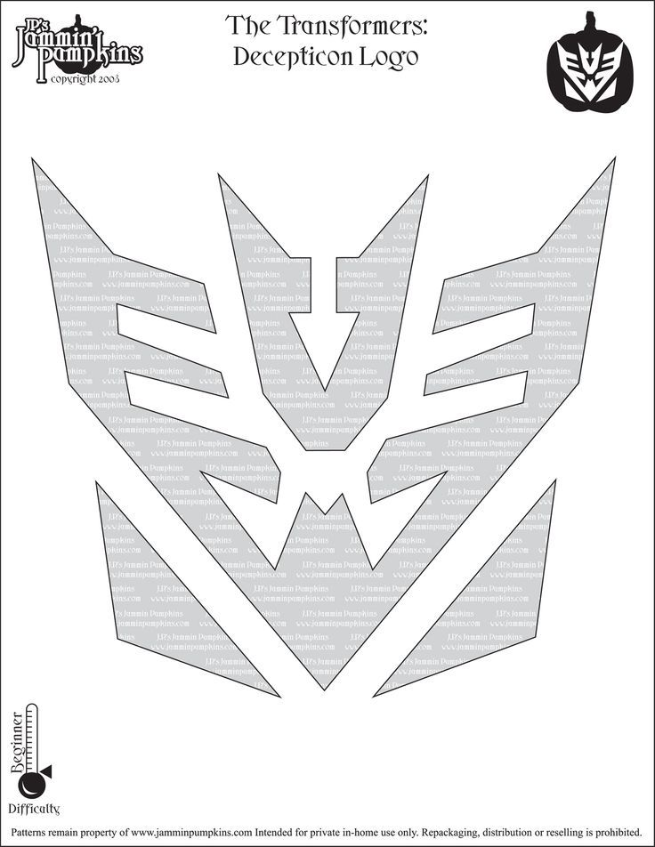 Pumpkin Transformers Decepticon Stencil Just For Logan Pumpkin