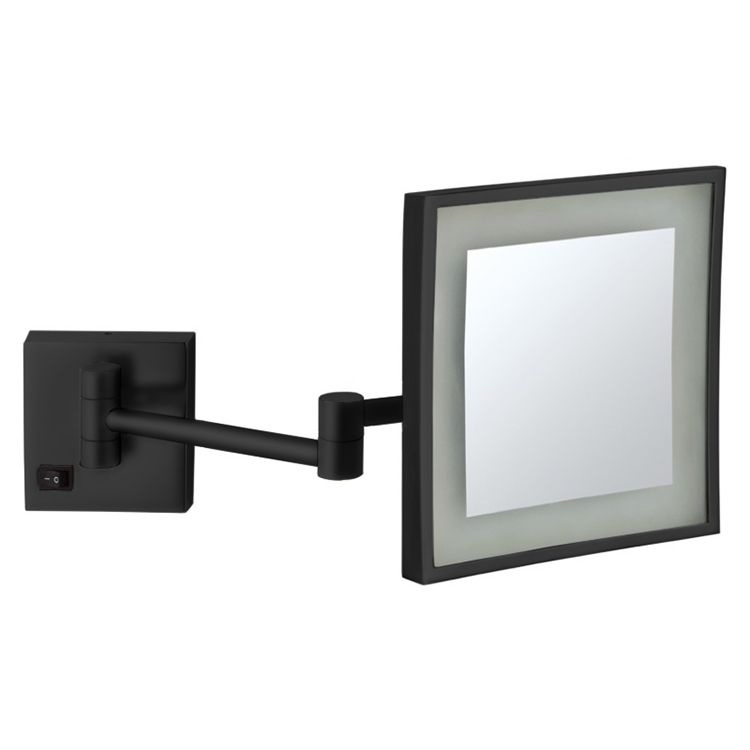 Matte Black Square Wall Mounted Led 5x Magnifying Mirror Hardwired In 2020 Wall Mounted Makeup Mirror Wall Mounted Magnifying Mirror Lighted Magnifying Makeup Mirror