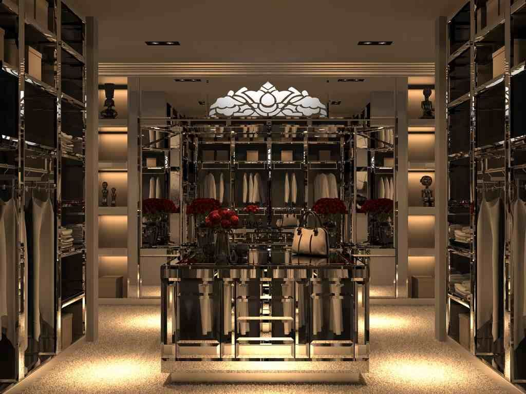 Closet and Wardrobe Designs. Contemporary luxurious walk-in closet design  with glossy-finished clothing storage. Fancy Dream Home Interior Walk-in  Closet ...
