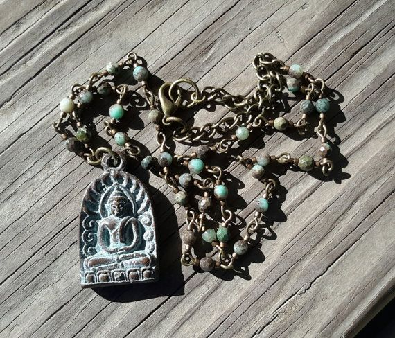 African Turquoise Buddha // Rosary Style Necklace // by DeLucaArt