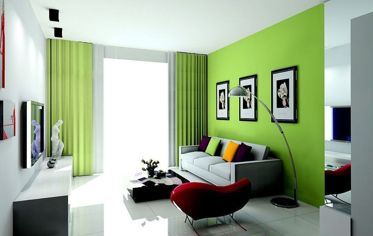 Interior Design Elegant Fresh Of The Bedroom With Green Wall Color And Also Modern Curtains Can Add Beauty Inside