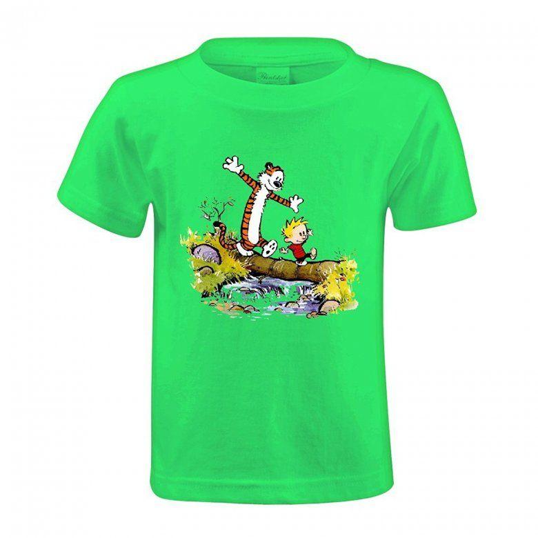 2da16b0b063 Kyle Calvin And Hobbes Tiger Kids Cotton Crewneck Tshirts Design ...