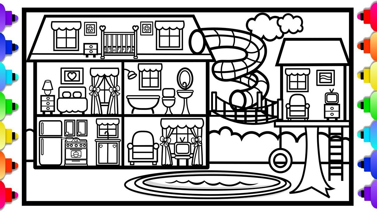 How To Draw A Big House With A Fun Slide And A Tree House
