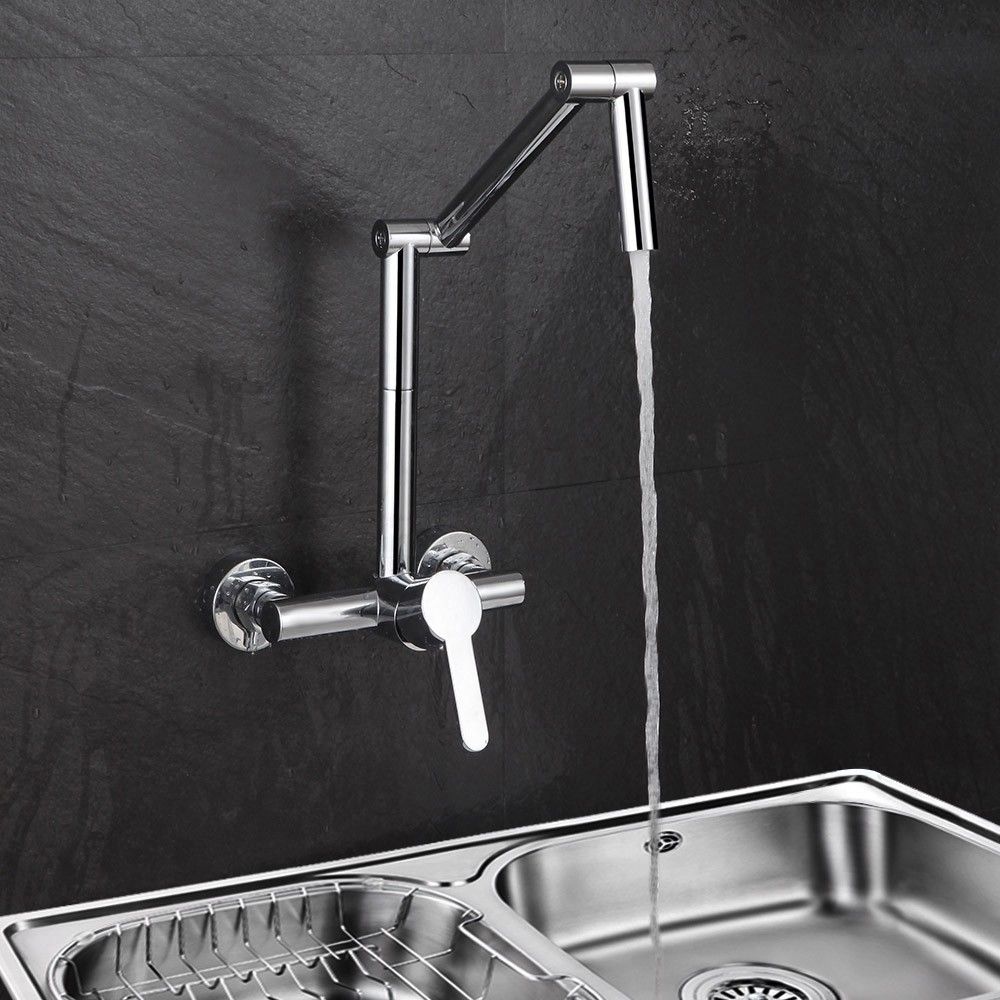 Modern Wall-Mount Hot&Cold Articulating Kitchen Faucet 2-Hole Bridge ...