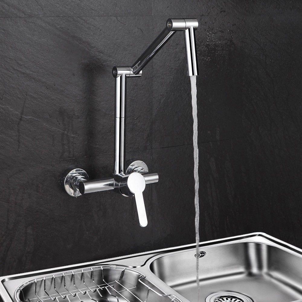 Modern Wall-Mount Hot&Cold Articulating Kitchen Faucet 2-Hole Bridge ...