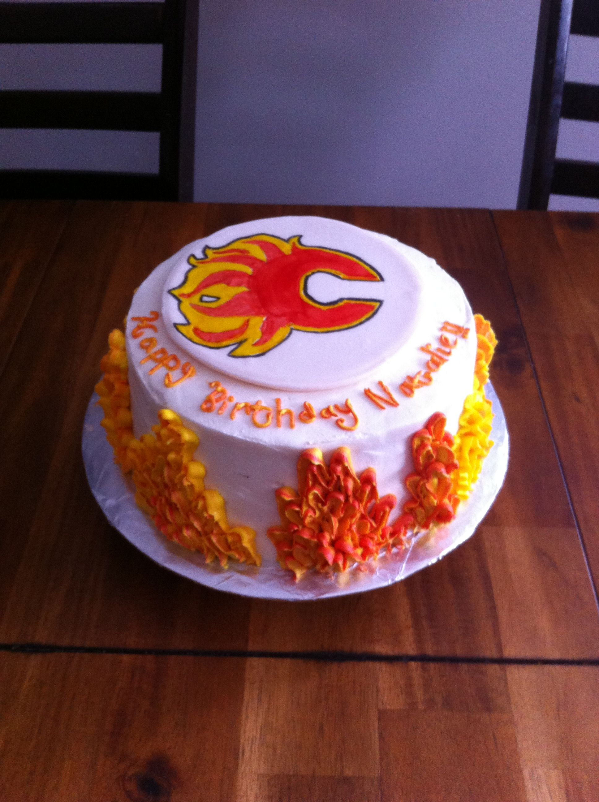 Calgary Flames Birthday Cake Flames Around The Side Of The Cake