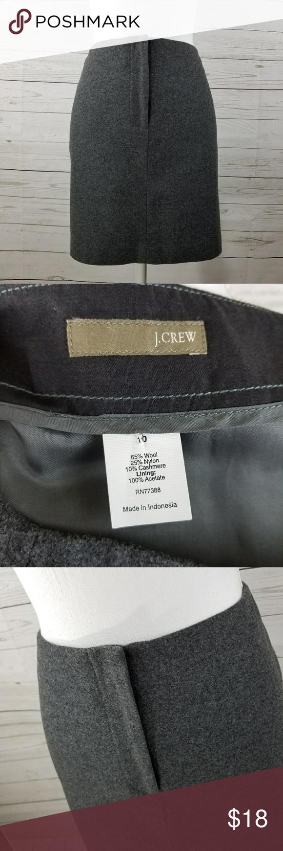 J. CREW gray Wool Pencil Skirt Size 10 J. CREW gray Wool Skirt Size 10 Waist 16