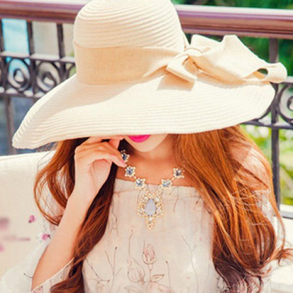 3feb74e5308 Chic Bowknot Embellished Wide Brim Sun Hat For Women