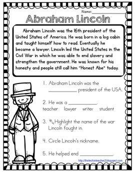 George Washington And Abraham Lincoln Reading Passages Abraham