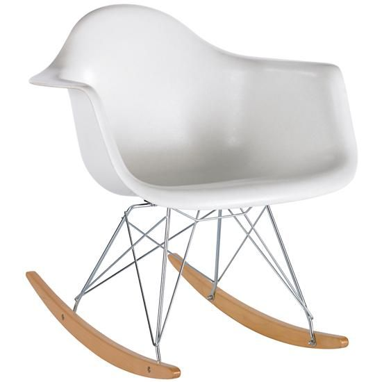 Adult Seating: White Retro Rocker Nursery Chair In Rockers And Gliders  (land Of Nod)
