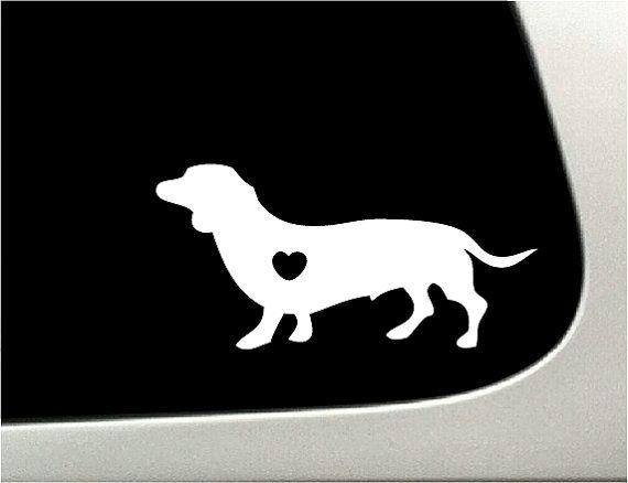 Wiener Dog Heart Car Decal