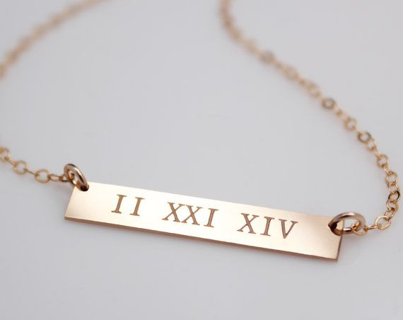 Roman Numeral Gold Bar Necklace, Kim Kardashian, Celebrity Custom Personalized Jewelry, Engravable Personal Gift, Bridesmaids on Etsy, $42.00