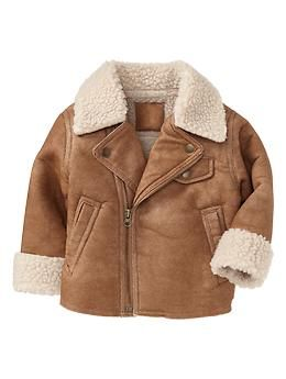 Toddler Boy Baby Gap Leather Bomber Jacket Size 18-24 months. NEW ...