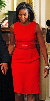 Michelle S Medal Of Freedom Awards Ceremony Style Get First Lady Red Dress National Fashion Examiner