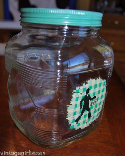 ANCHOR-HOCKING-VTG-Milk-Man-LARGE-Coffee-JAR-LID-RARE
