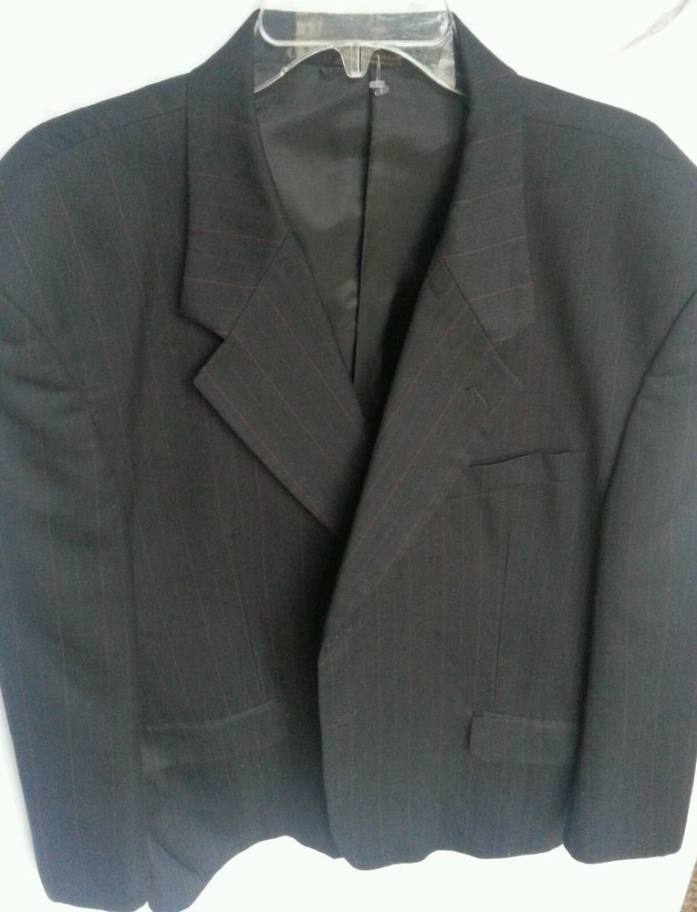 Giorgio Brutini Wool Blend Sport Coat Mens Size 46 Short Black Pin ...