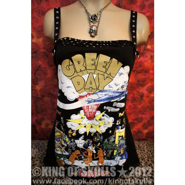 Green Day dookie DIY Punk Rock Tank Top M T-shirt altered to womens... ($60) ❤ liked on Polyvore