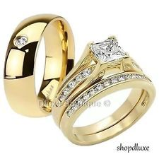 his hers 3 piece mens womens 14k gold plated wedding engagement