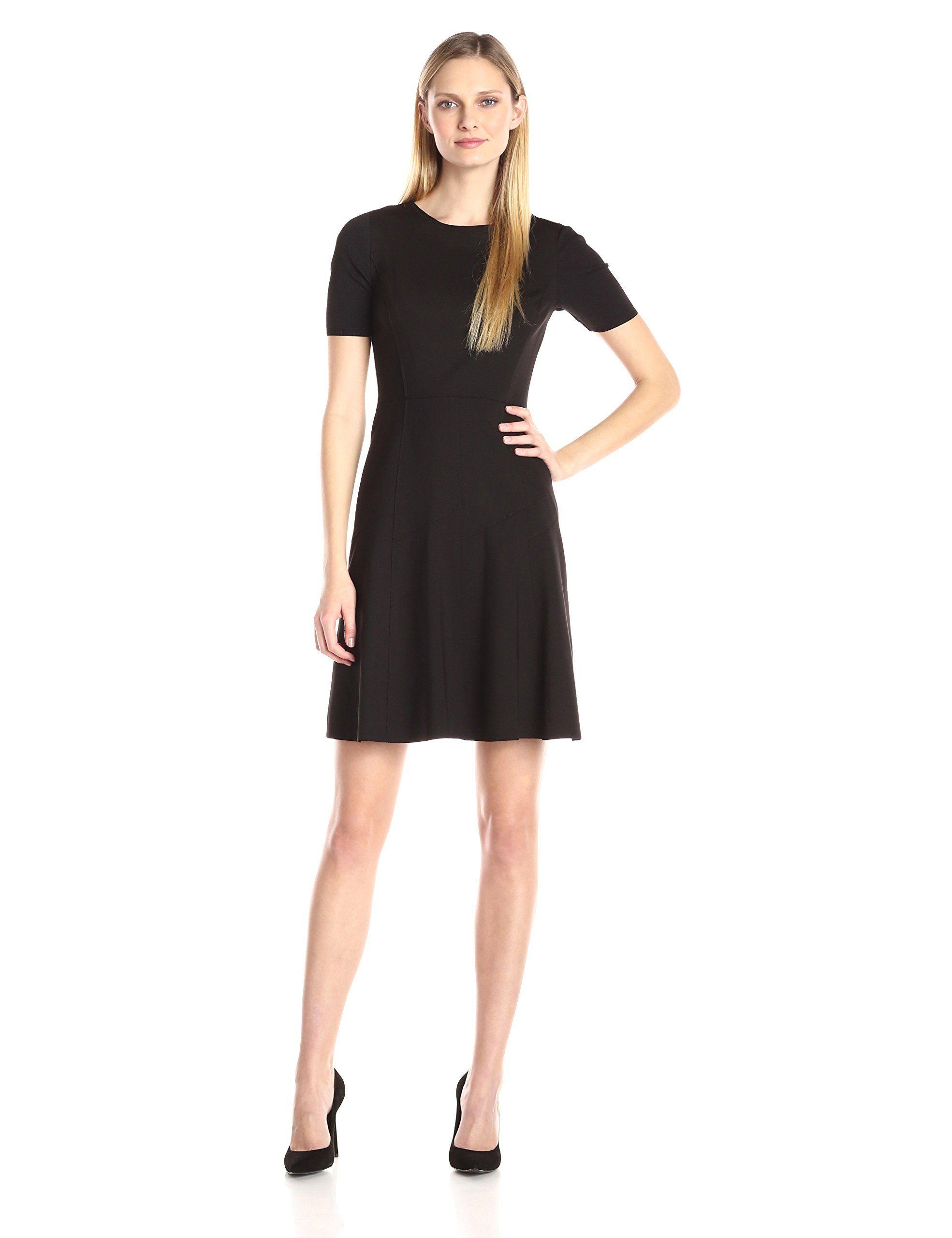 Elie tahari womenus maria dress black lined short sleeves fit