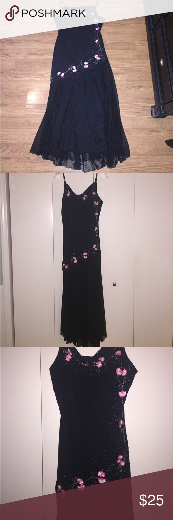 Long black cocktail dress embroidered u beaded black cocktail