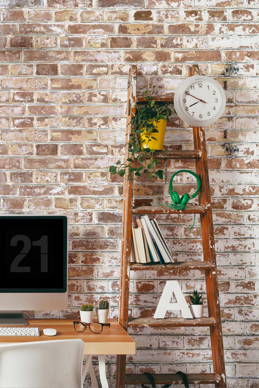 Living Room Feature Wall Design: White Paint Bricks Wall Mural