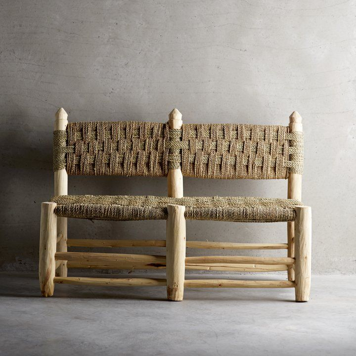 Handmade Bench In Wood With Seat Woven From Palm Leaves Products Tine K Home Small Wooden Bench Diy Bench Furniture