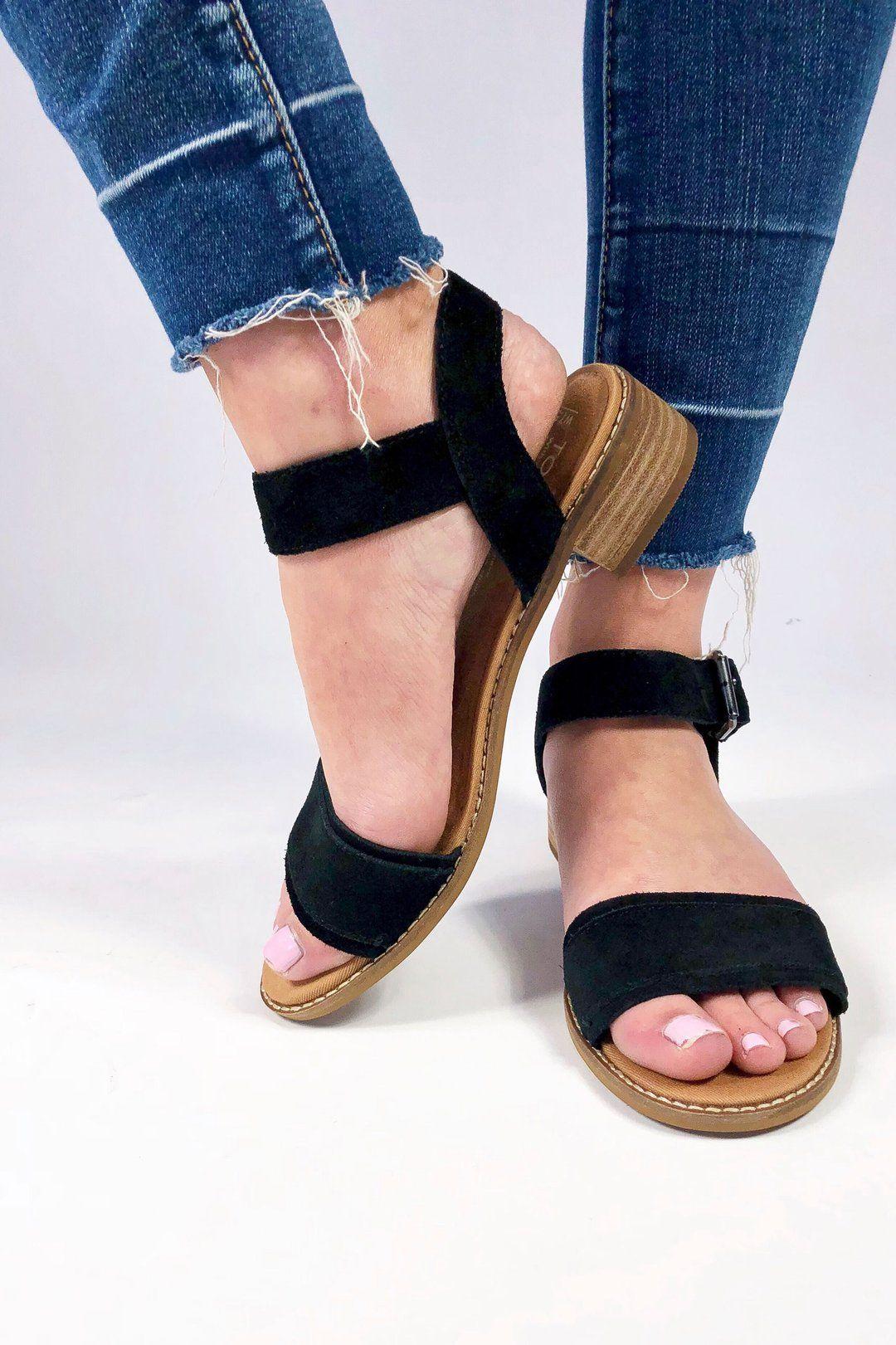 32973eaac3d62 TOMS Black Suede Camilia Sandals in 2019 | Apparel Box | Shoes ...
