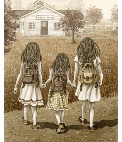 Back to School is a watercolor painting by Tracylizottestudios.com Prints are available at: http://tracylizottestudios.com/index.php/shop/prints/product/144-back-to-school