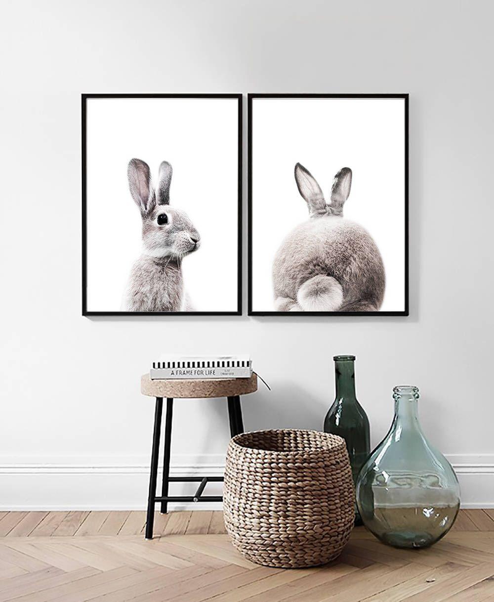 Bunny Print Rabbit Nursery Art Animal Wall Decor Animal Poster