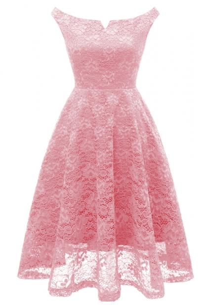 Pink Lace Flare Dress  #rosaspitzenkleider