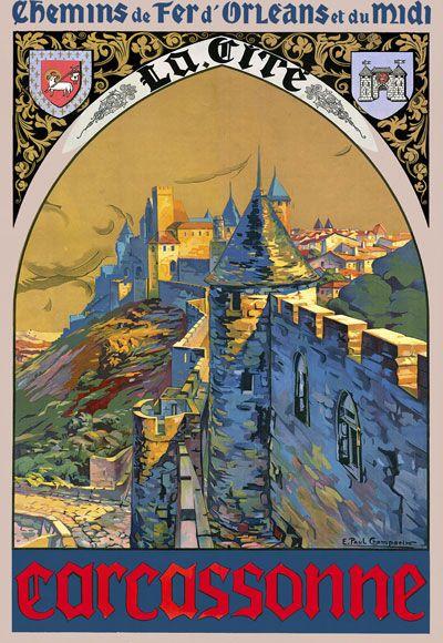 Details About Tt17 Vintage Carcassonne French France Travel Tourism Poster Re Print A4 Vintage Travel Posters Vintage Posters Travel Posters
